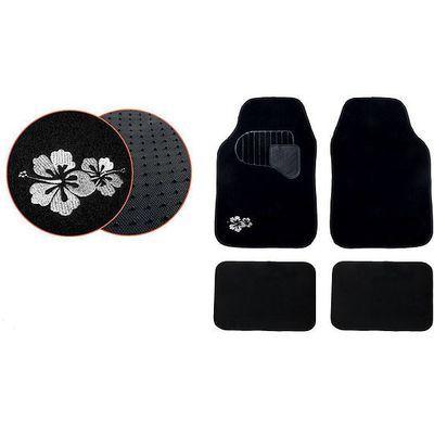 White hibiscus fabric mats