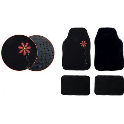 Black Flower fabric mats
