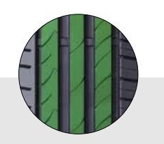 Nervure centrale continue et solide sur la circonférence du pneu